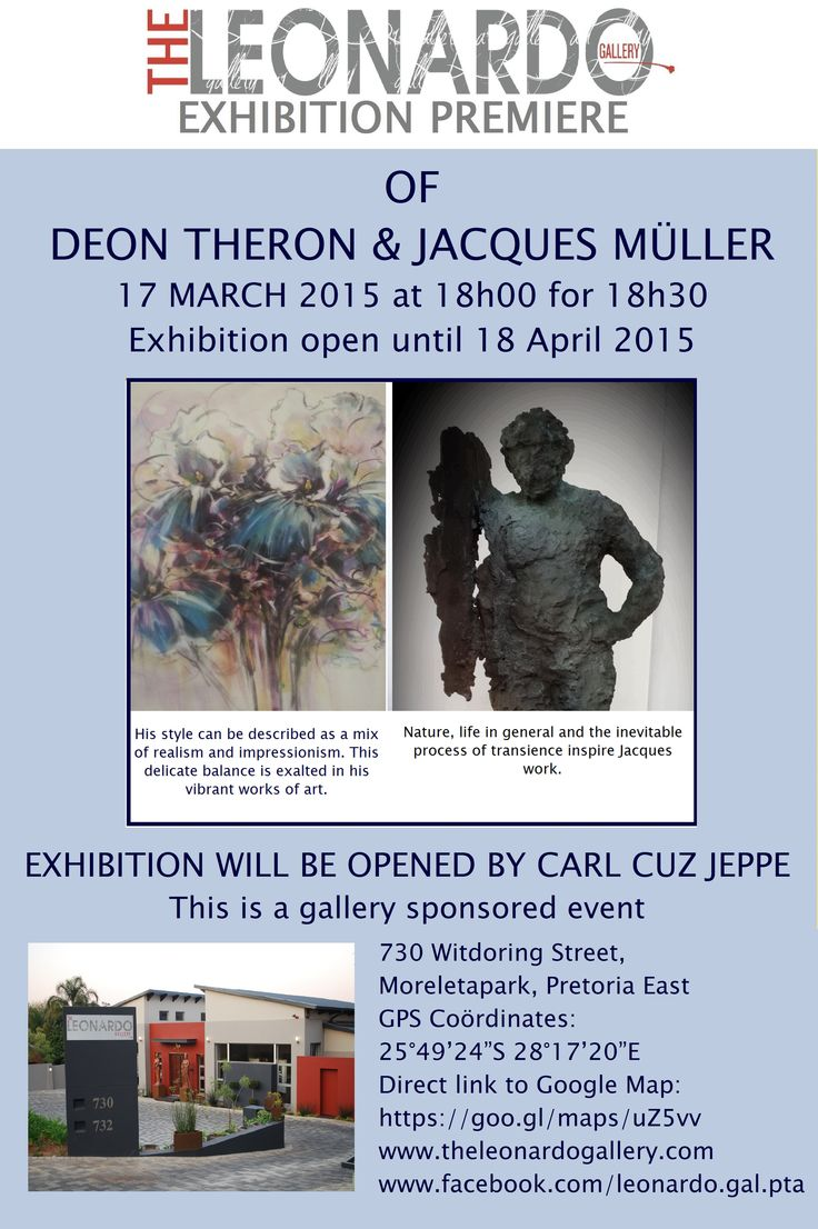 Exhibition Premiere evening of artworks by Deon Theron and Jacques Müller