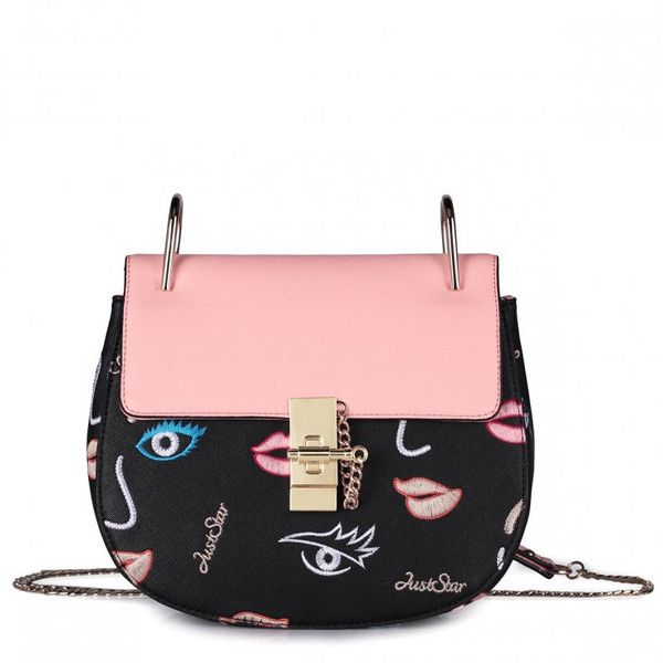 Exclusive Black HandBag With Gold Chain and Pink Lips found on Polyvore featuring bags and handbags