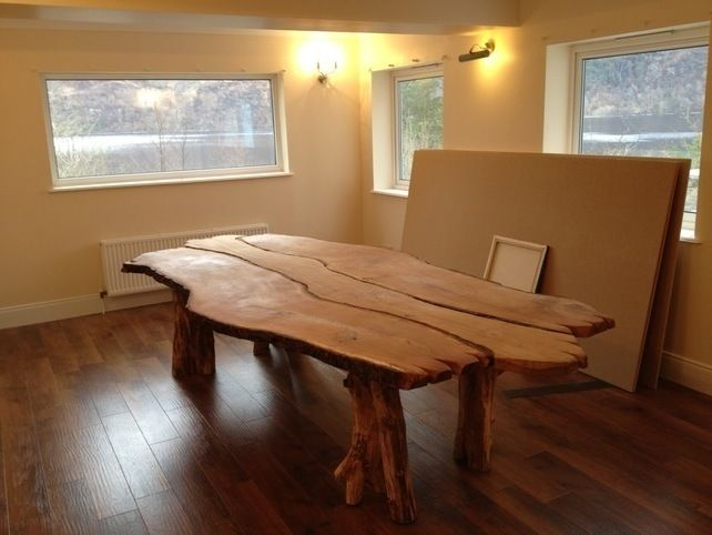 Hand Made Bespoke Solid Waney Edge Rustic Oak Kitchen, Dining Room