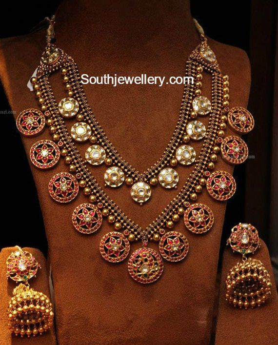 Antique Gold Layered Haram and Jhumkas