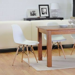 Mid Century White Plastic 2 Piece Dining Chair Set By Baxton Studio SetDining TableDining RoomFurniture OutletOnline