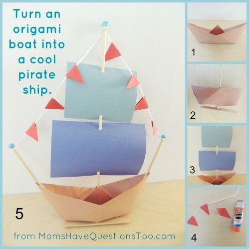 Turn a paper boat into an awesome pirate ship! Super fun craft that kids of all ages will enjoy. Directions for origami boat in blog post.