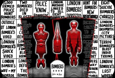 Gilbert & George, BOMBERS, 2006. Mixed media, 336 x 493cm. Courtesy of the artists and White Cube.  Review in Eyeline contemporary visual arts, issue 85.
