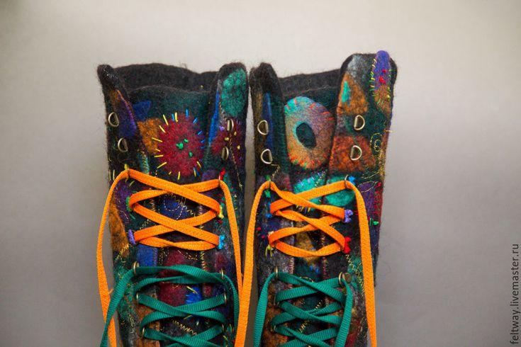 """Купить Сапоги-ботинки"""" Личность"""" повтор - комбинированный, ботинки женские, сапоги ручной работы"""
