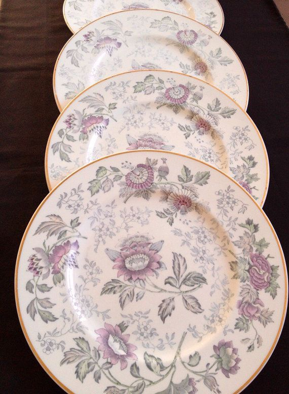 Wedgwood Avon Shabby Chic Wedding Decor Vintage Decor Home Decor W3983 Multicoloured Bone China Set of 4 Dinner Plates