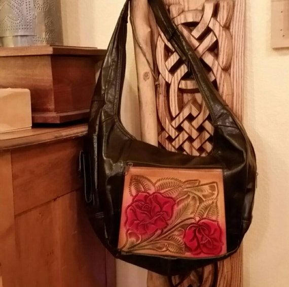 Soft Leather Slouch Bag W Tooled Leather Roses   Etsy shop https://www.etsy.com/listing/491606056/soft-hershey-brown-leather-slouch-bag-w