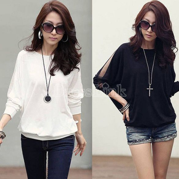 $4.25 Trendy Long Sleeve Loose T-Shirt Batwing Tops Blouses Black