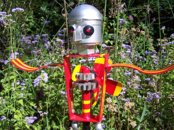 Items Similar To Whirligig Robot Metal Spinning Yard And Garden Art On Etsy