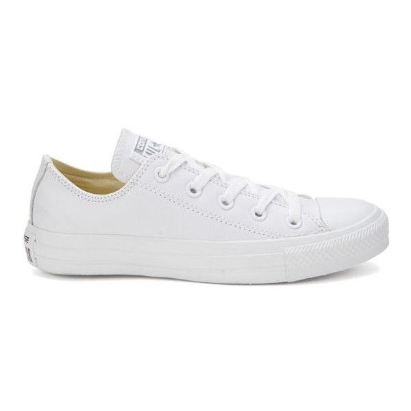 Converse Unisex Chuck Taylor All Star OX Leather Trainers - White  Monochrome (£55) found on Polyvore featuring shoes df4a27d04ff7