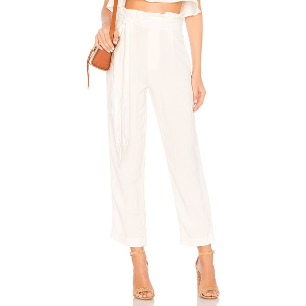 Rachel Pally Linen Trenton Pant ($195) ❤ liked on Polyvore featuring pants, white linen trousers, cuffed trousers, white trousers, elastic cuffed pants and tie waist pants