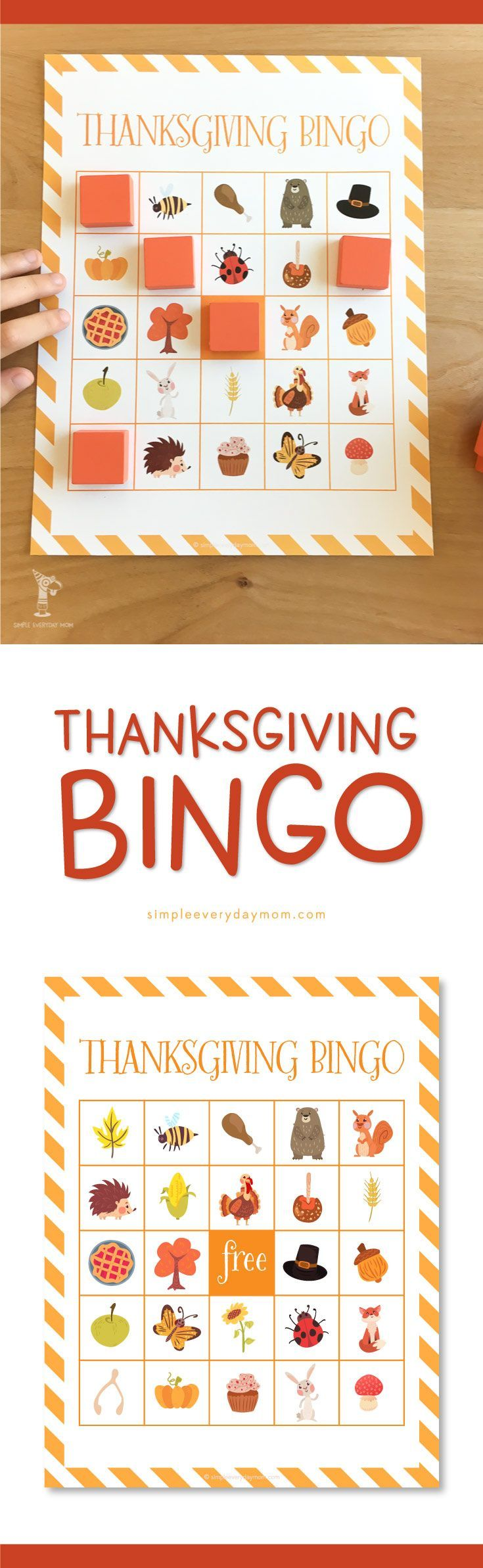 Thanksgiving Bingo printable for kids | Give your kids a fun activity to do while Thanksgiving dinner is being made. They'll love this easy to play Thanksgiving bingo