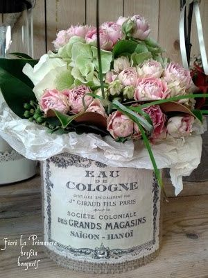Idea for up cycling all those coffee cans. Lovely French Flower Containers