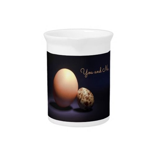 Chicken and quail eggs in love. Text «You and Me». Beverage Pitcher #beveragepitcher #chicken #quail #eggs #love #couple #lovers #beige #darkblue #stilllife #photography #darkness #funny #photo #food #kiychen #valentinesday  #darkpurple  #fantasy #youandme #customized #personalized #graphics #artwork #buy #sale #giftideas #zazzle #discount #deals #gifts #shopping