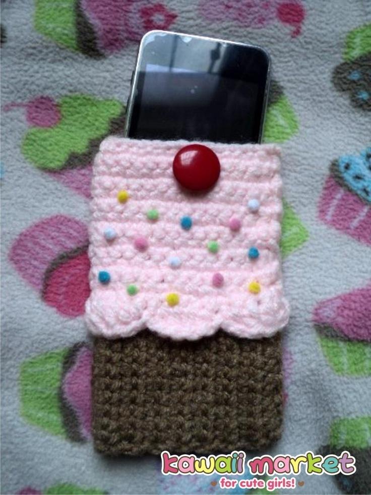 Funda Kawaii De Cupcake Crochet Tejida Para Celular O Ipod