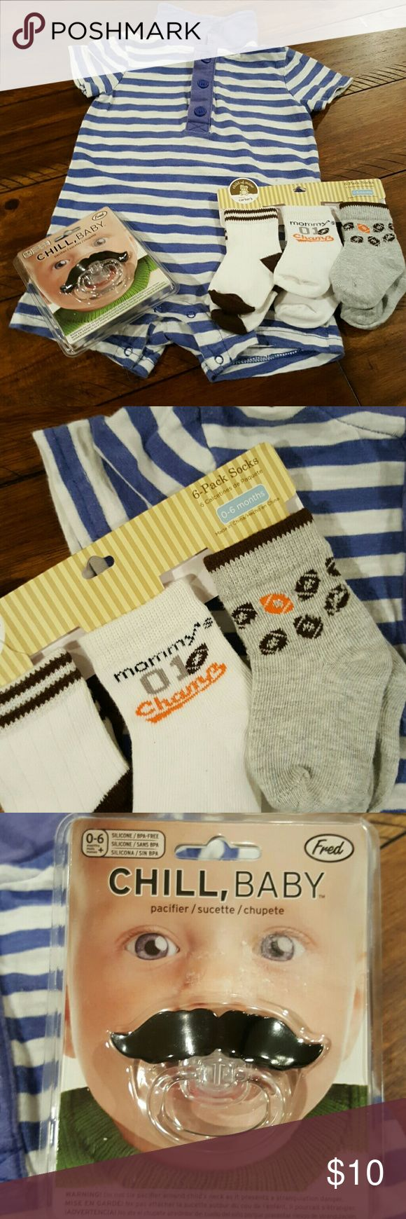 6 month baby bundle 6 month used Cherokee onsie, 6 pack of brand new socks, and a brand new still packaged mustache pacifier. Accessories