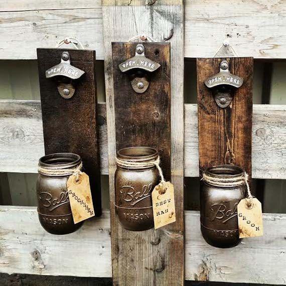 Rustic Pallet Wood Beer Bottle Opener and Cap by TeddysRoom, $29.00