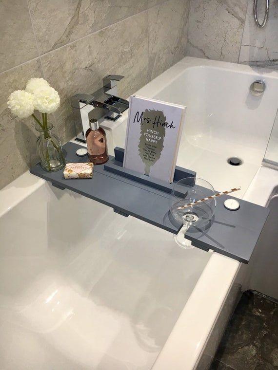 Grey Bath Caddy Bath Shelf Wedding Gift Bath Plank Bath Board