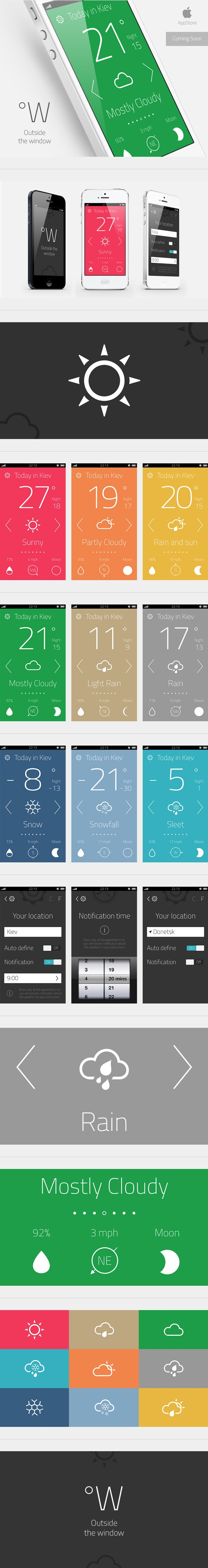 "Weather App ""Outside the window"" by Artem Svitelskyi, via Behance *** "" Perfect weather, stylish design, free forecast for every day. Push yourself to experience more. Have you looked out of the window ? """