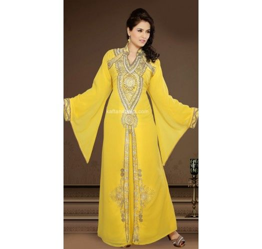 Yellow Faux Georgette Popular Modern Islamic #Kaftan