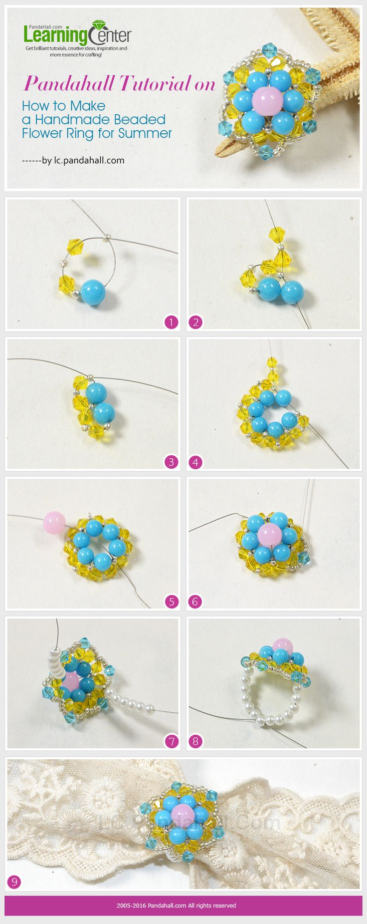 Pandahall Tutorial on How to Make a Handmade Beaded Flower Ring for Summer from LC.Pandahall.com