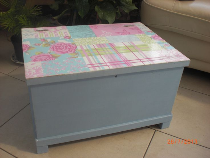 An old blanket box. I added some feet from a discarded sofa and painted it in Annie Sloan chalk paint with wallpaper decoupage on the top