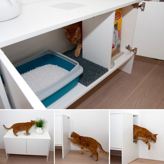 Litterbox cabinet with cat porthole.Cabinets, Cat Furniture, Good Ideas, Cat Litter Boxes, Pets, Cupboards, Cat Boxes, Cool Ideas, House