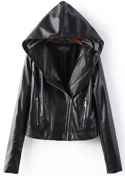 Shop Black Hooded Long Sleeve Zipper PU Jacket online. Sheinside offers Black Hooded Long Sleeve Zipper PU Jacket & more to fit your fashionable needs. Free Shipping Worldwide!