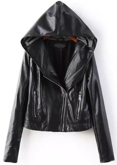 Black Hooded Long Sleeve Zipper PU Jacket - Sheinside.com