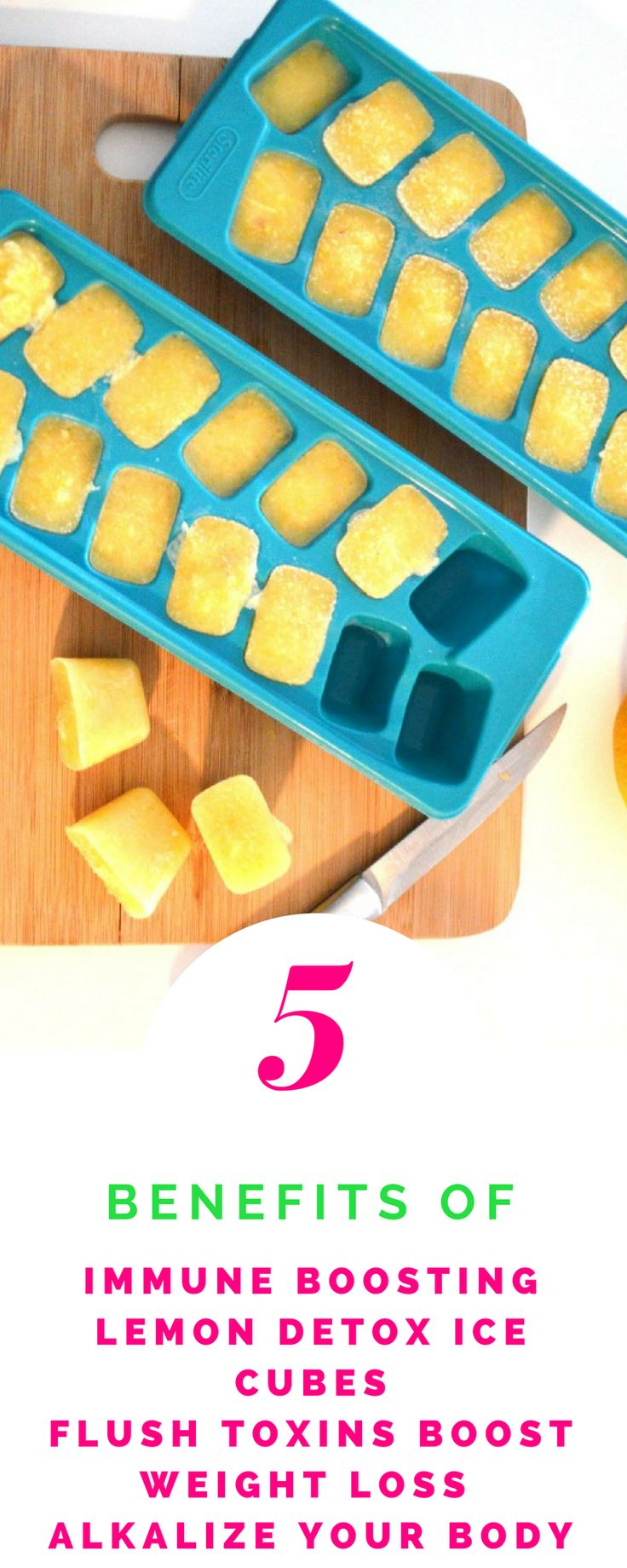 Detox your liver and cleanse your system with detox lemon ice cubes. Lose belly bloat, gain energy while losing weight. Easily lose water weight. Add into your detox drink.