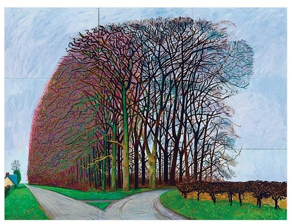 Hockney's vanished copse...he did several paintings here to find it cut down one day