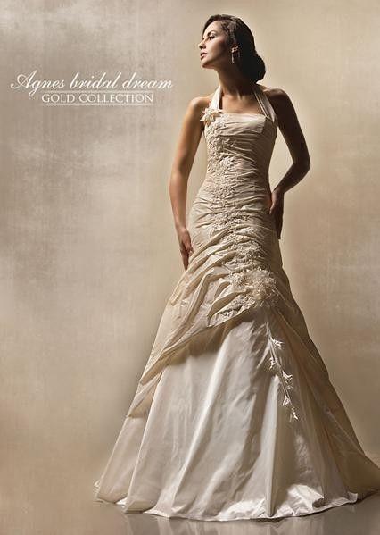Asymmetrical Wedding Dress Halter Floor Length Taffeta Champagne