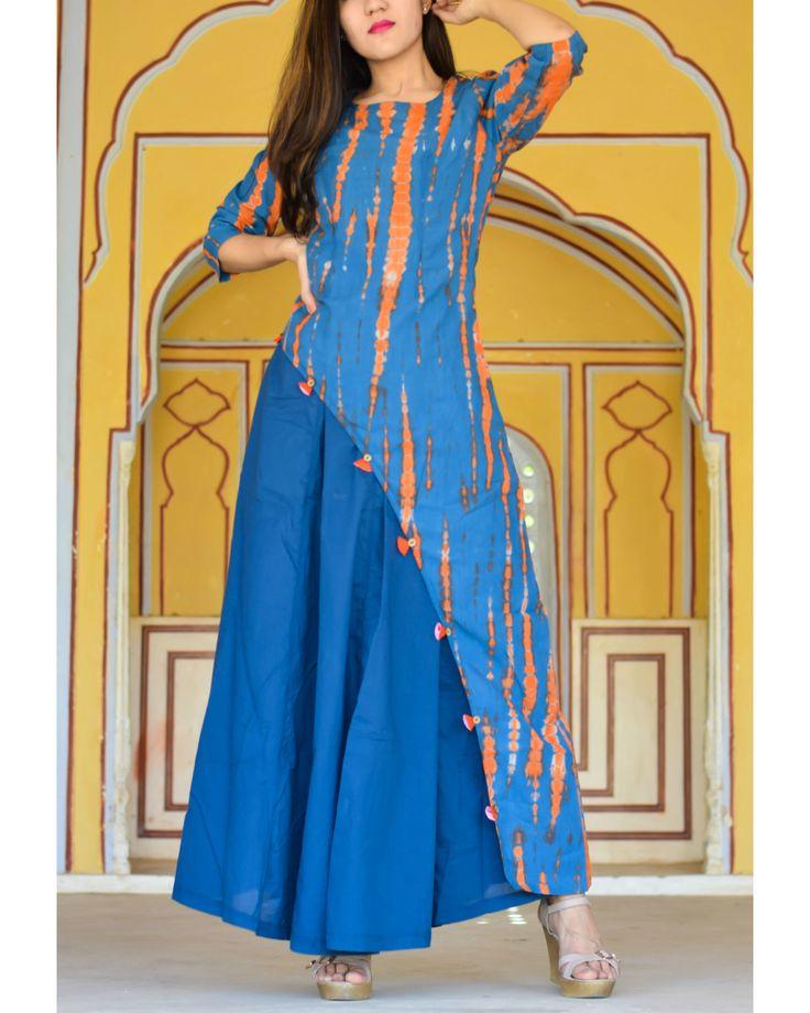 The Secret Label Blue Tie Dye Asymmetrical Dress