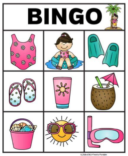 Free Summer Bingo Sample ~ Preschool Printables