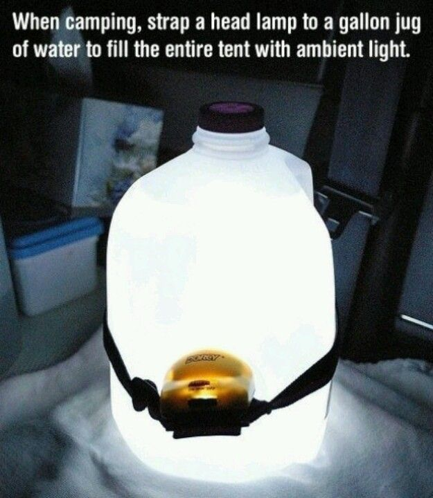 Strap a head lamp to a full gallon of water for a great camping light!