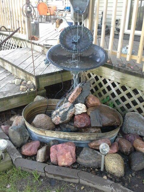 Water Fountain Made Of Old Coal Bucket Bird Bath Big