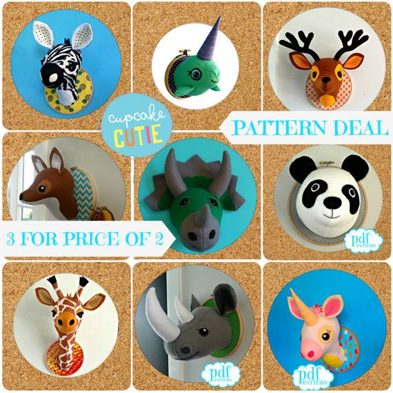 Animal head sewing pattern. Faux taxidermy by cupcakecutie1