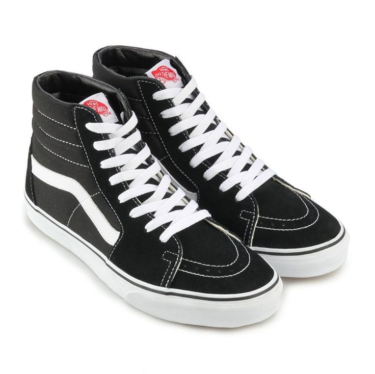SK 8 Hi Sneaker Shoes by Vans. Classic skate shoes that inspired from the classic old skool. Durable suede upper, with black and white color, stitching accent. Hype shoes that still on the hype track, perfect for skate and for your casual look. http://www.zocko.com/z/JFTsA