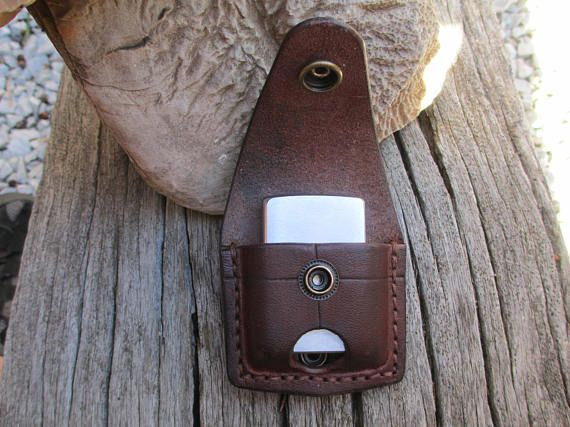 Leather pouch / case for Zippo lighter hand made