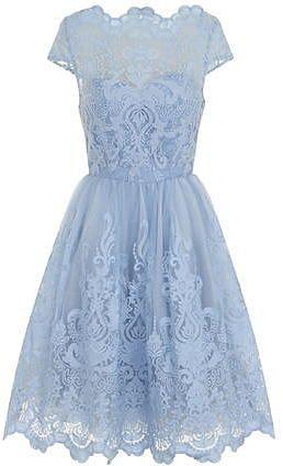 Womens pastel blue chi chi london cap sleeve tea dress- blue from Dorothy Perkins - £66.99 at ClothingByColour.com