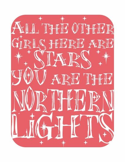 Typography Art Print - Northern Lights - in coral pink with white song lyrics and stars on Etsy, $20.00