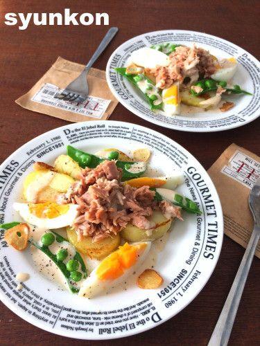 【簡単!!副菜・サラダ】じゃがいもとツナとゆで卵のウスターマヨソースと、ゆで卵の切り方|山本ゆりオフィシャルブログ「含み笑いのカフェごはん『syunkon』」Powered by Ameba