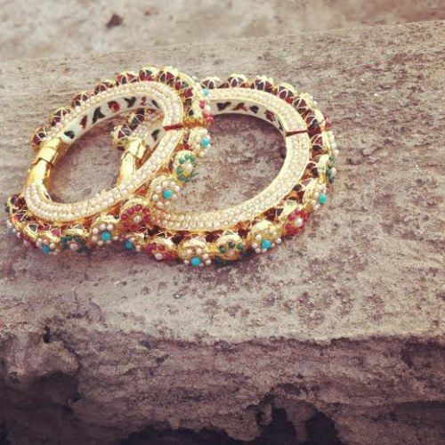 Gold Plated Pearl Embellished Bangles