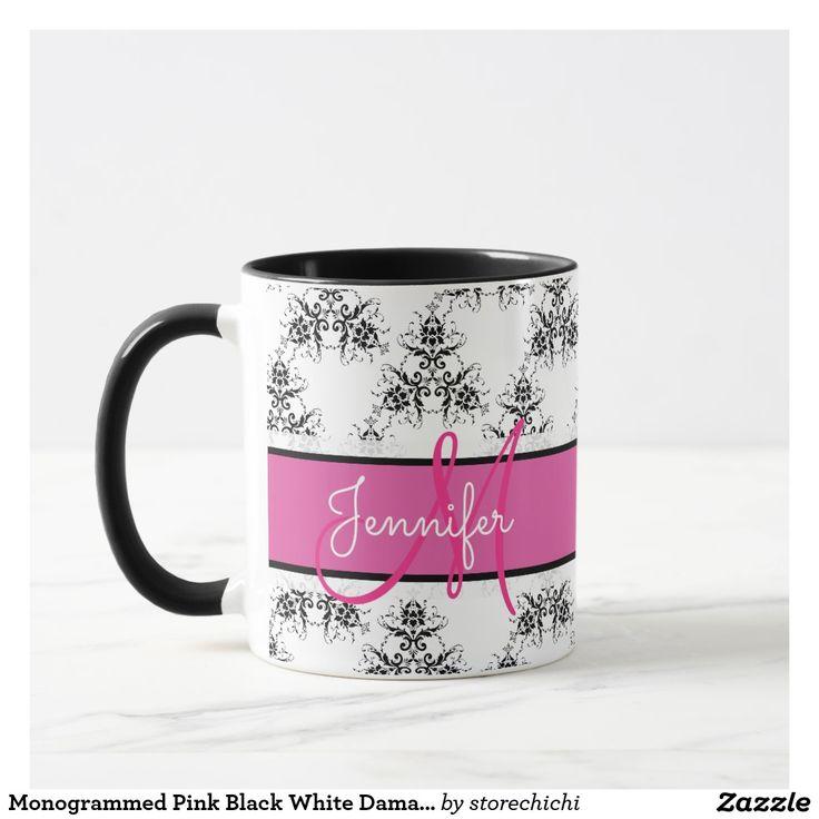 Monogrammed Pink Black White Damask name