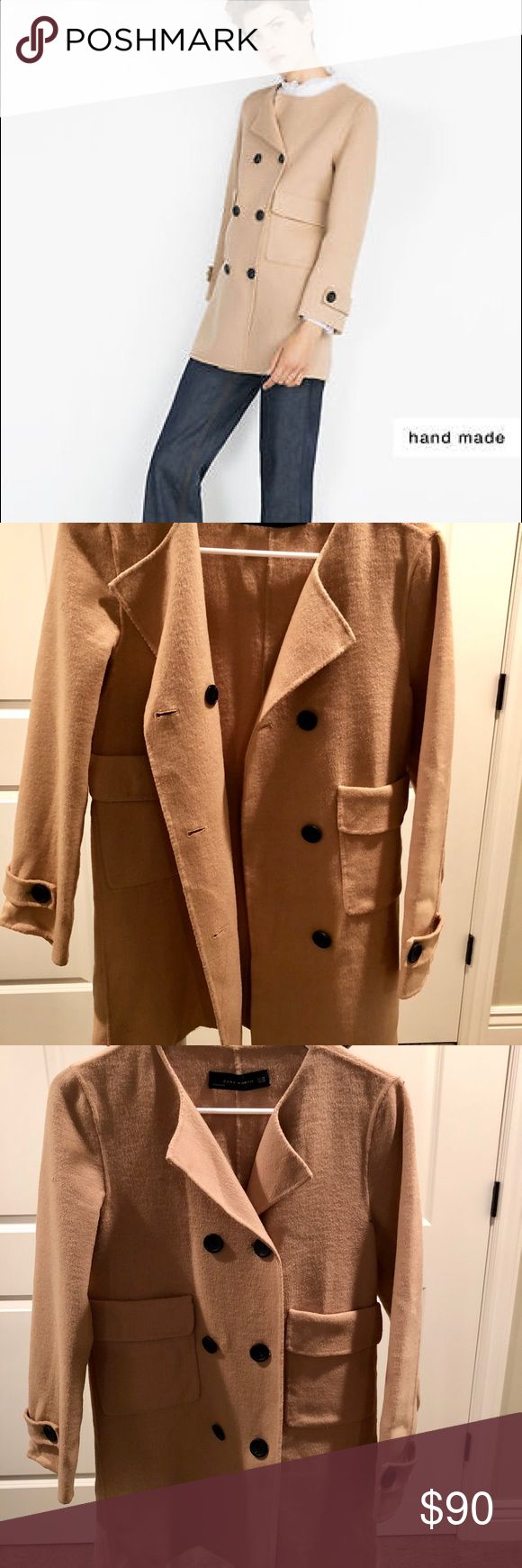 Zara Wool Hand Made Coat Excellent condition. Worn once. Soft wool. Size: XS Color: camel/beige   Smoke free home. No trades, please. Make an offer! Zara Jackets & Coats Blazers