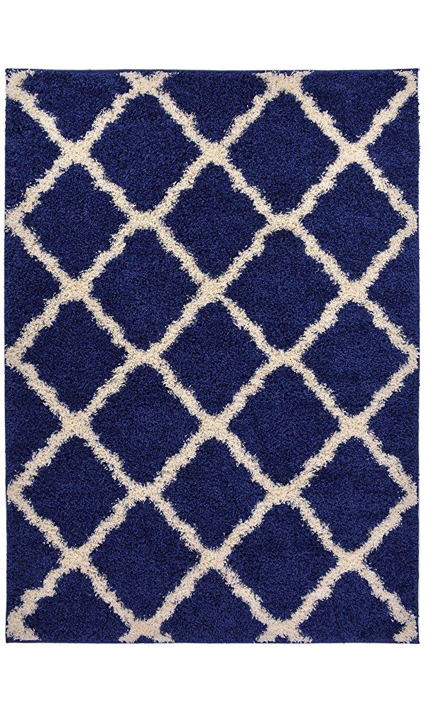 "Navy Blue Trellis Shag Area Rug Rugs Shaggy Collection (Navy Blue, 4'x5'3"") Best Price"