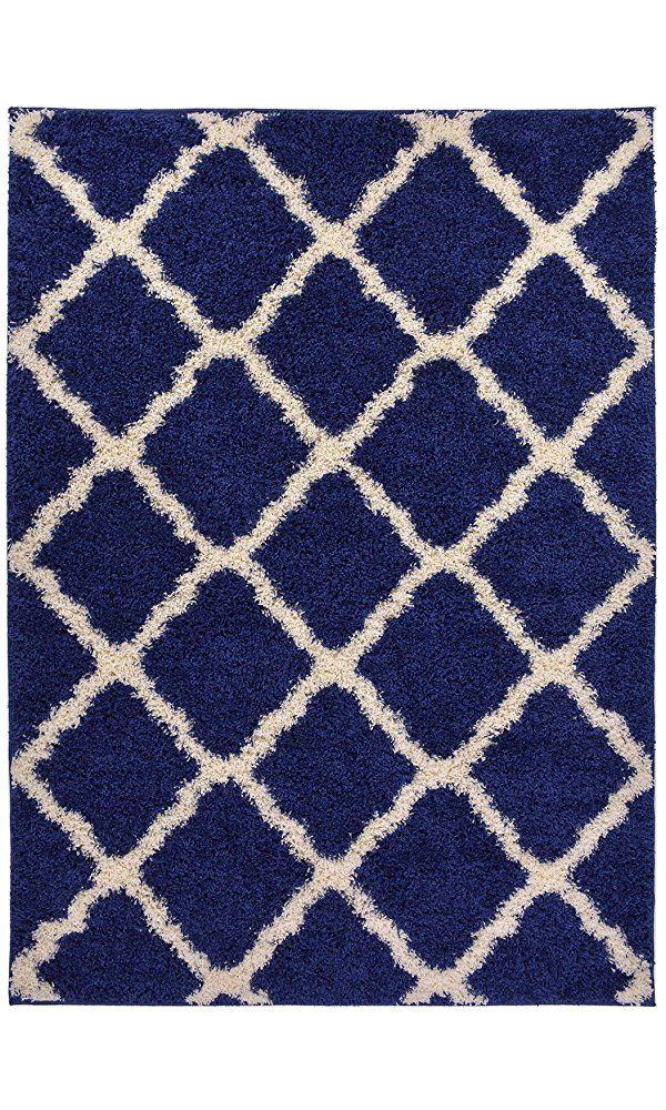 "Navy Blue Trellis Shag Area Rug Rugs Shaggy Collection (Navy Blue, 4'x5'3"") Best Price"