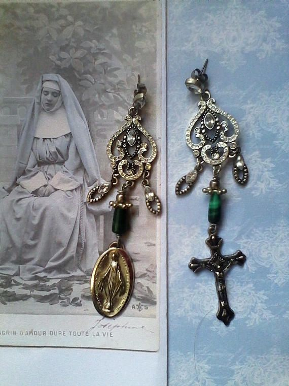 Assemblage earrings Religious medal earrings Crucifix