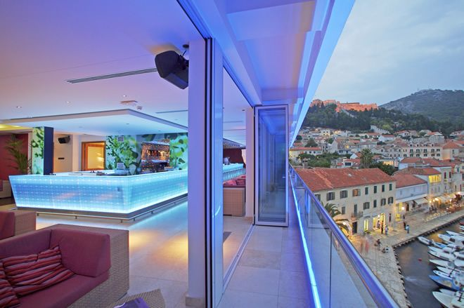 Top Adriana Hotel rooftop bar - With magnificent views of the Hvar ancient city and Paklinski Islands.