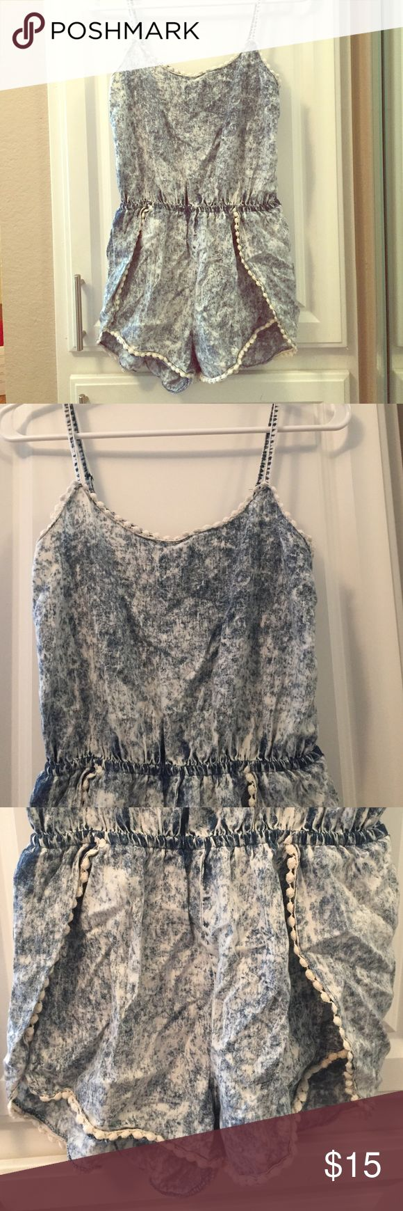 Beach romper! Cutest jean beach romper! *PRE LOVED**          This little romper is perfect for the beach as a cover up or day wear! **BEACH RIOT FOR EXPOSURE** Beach Riot Swim Coverups