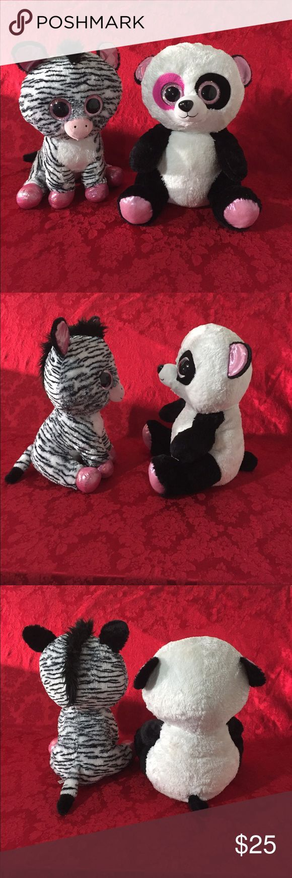 """2 Jumbo TY Big Beanie Boos Jumbo 17"""" inches tall You will get both of them.Names: Penny Panda & Izzy The Zebra. Both in excellent used condition. Both have a few marks on eyes but not really bad and both are HTF😊👍🏽 TY Accessories"""